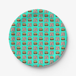 Cheeseburger & Heart Boxers Paper Plate