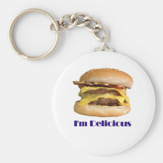 cheeseburger - I'm Delicious Basic Round Button Keychain