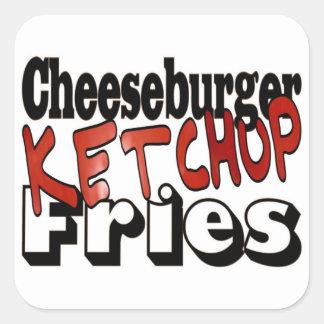 Cheeseburger Ketchup Fries Square Sticker