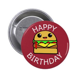 Cheeseburger lindo del feliz cumpleaños pin redondo de 2 pulgadas