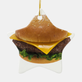 Cheeseburger Double-Sided Star Ceramic Christmas Ornament