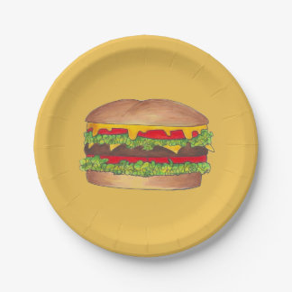 Cheeseburger Paper Plates 7 Inch Paper Plate