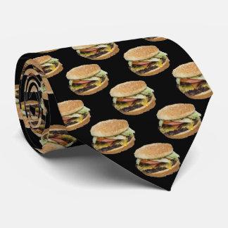 Cheeseburger Pattern on Black Tie