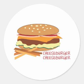Cheeseburger Pegatinas Redondas