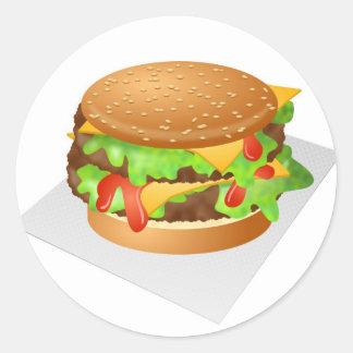 Cheeseburger Etiquetas Redondas