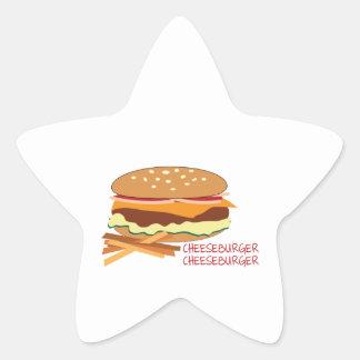 Cheeseburger Pegatina En Forma De Estrella