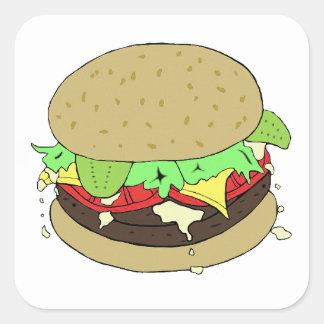 Cheeseburger Calcomania Cuadradas Personalizada