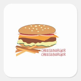 Cheeseburger Calcomanía Cuadradas