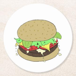 Cheeseburger Posavasos Desechable Redondo