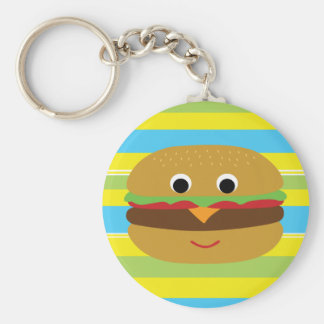 Cheeseburger retro llavero redondo tipo pin