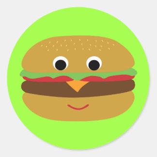 Cheeseburger retro pegatina redonda