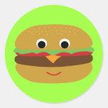 Cheeseburger retro pegatinas redondas