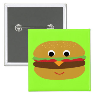 Cheeseburger retro pin cuadrada 5 cm