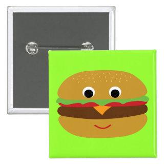 Cheeseburger retro pin cuadrado