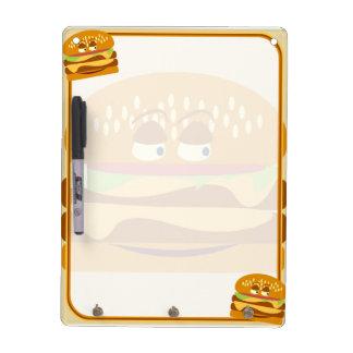 Cheeseburger sabroso feliz pizarras blancas