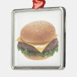 Cheeseburger Square Metal Christmas Ornament