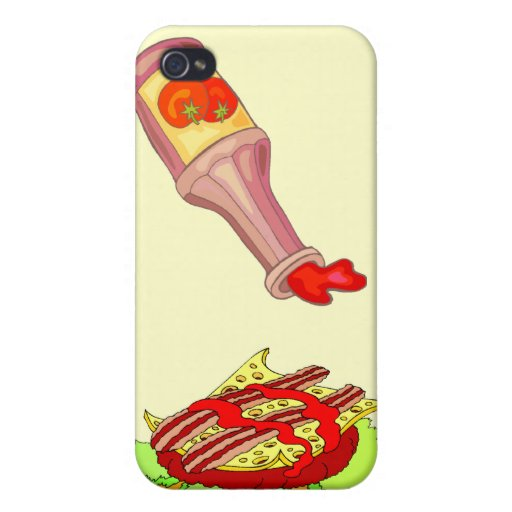 Cheeseburger suizo del tocino con la salsa de toma iPhone 4 cárcasa