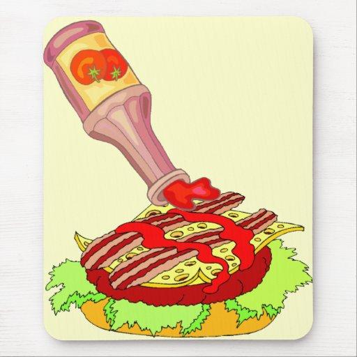 Cheeseburger suizo del tocino con la salsa de toma tapete de raton