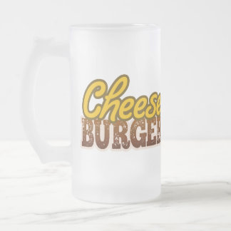 Cheeseburger Text Design Frosted Glass Beer Mug