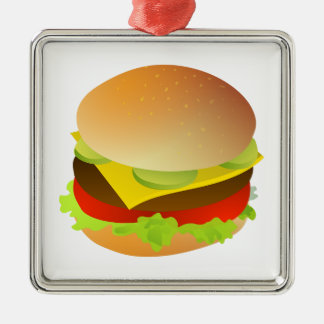 Cheeseburger with Lettuce, Tomato, and Pickles Christmas Ornaments