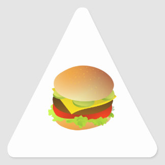 Cheeseburger with Lettuce, Tomato, and Pickles Triangle Sticker