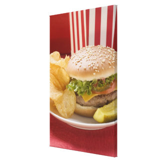 Cheeseburger with potato crisps and gherkin canvas print