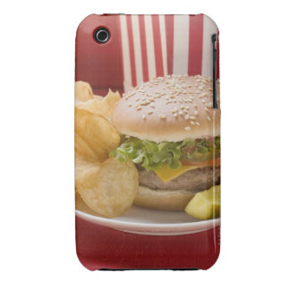 Cheeseburger with potato crisps and gherkin iPhone 3 cases