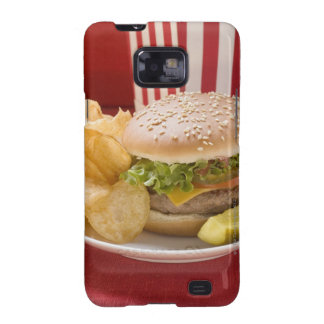 Cheeseburger with potato crisps and gherkin galaxy SII covers
