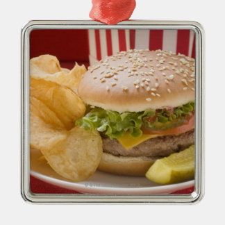Cheeseburger with potato crisps and gherkin square metal christmas ornament