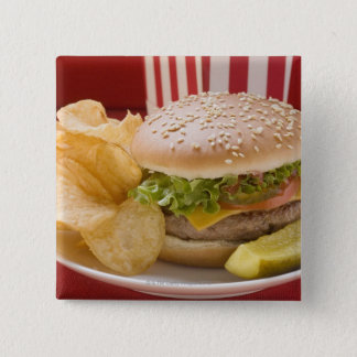 Cheeseburger with potato crisps and gherkin pinback button