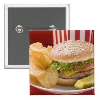Cheeseburger with potato crisps and gherkin pinback button