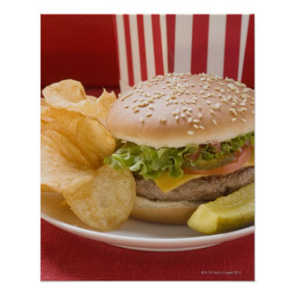 Cheeseburger with potato crisps and gherkin poster