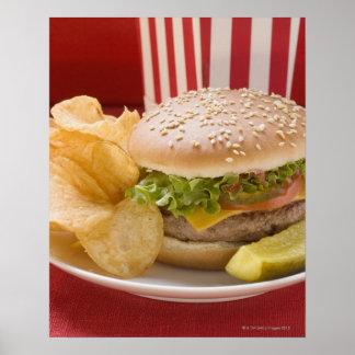 Cheeseburger with potato crisps and gherkin print