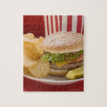 Cheeseburger with potato crisps and gherkin jigsaw puzzles