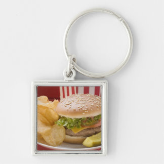 Cheeseburger with potato crisps and gherkin Silver-Colored square keychain