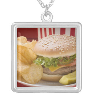 Cheeseburger with potato crisps and gherkin silver plated necklace