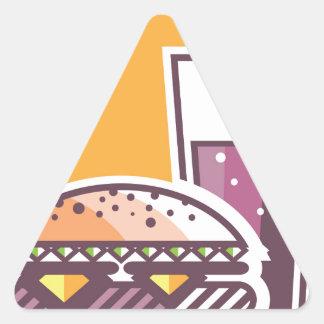 Cheeseburger y bebida de los alimentos de pegatina triangular
