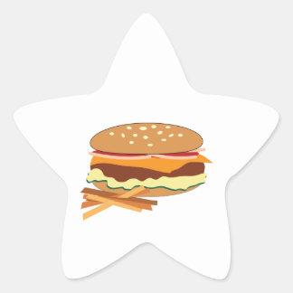 Cheeseburger y fritadas pegatina forma de estrella personalizada