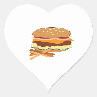 Cheeseburger y fritadas calcomanías de corazones