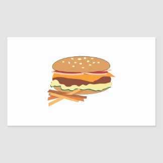 Cheeseburger y fritadas rectangular pegatina
