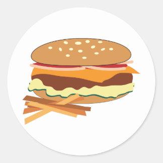 Cheeseburger y fritadas pegatinas redondas