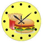 Cheeseburger y fuegos reloj