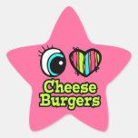 Cheeseburgers brillantes del amor del corazón I Pegatinas Forma De Estrellaes
