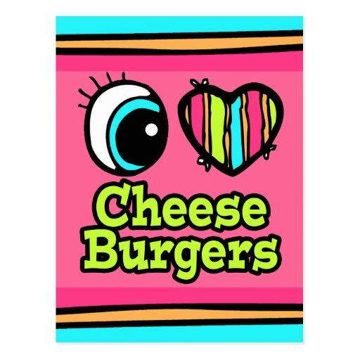 Cheeseburgers brillantes del amor del corazón I Postal