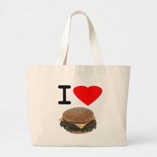 Cheeseburgers divertidos del amor de I Bolsa Tela Grande