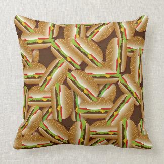 Cheeseburgers Galore Brown Throw Pillow
