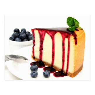 Cheesecake And Blueberries Postcard