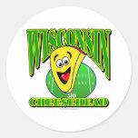 CheeseHead Cartoon 2 Classic Round Sticker