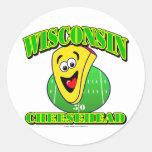 CheeseHead Cartoon Classic Round Sticker