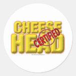 CheeseHead certificado Pegatina Redonda